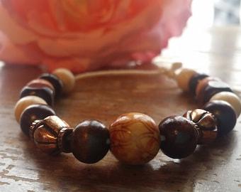 Wood and Bronze Bead Slide Bracelet