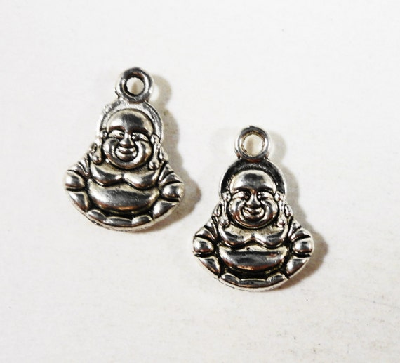 Silver Buddha Charms 13x11mm Antique Silver Double Sided Small Buddha Pendant, Religious Charms, Buddhism Charms, Buddhist Charms, 10pcs
