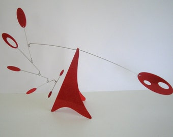 Red Tabletop hanging mobile, Calder style stabile, Mid-Century modern art