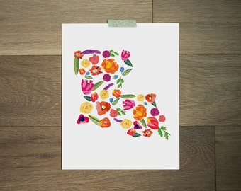 Louisiana state print, floral print, floral art