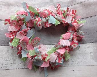 Heart Fabric Wreath - Fabric Heart - Hanging Heart - Heart Home Decor - Heart Decoration - Shabby Chic Heart - Rag Wreath - Fabric Wreath