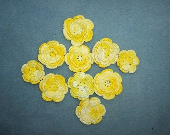 10 mismatched yellow cotton thread crochet roses -- 1987