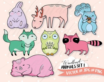 Woodland Animals Clipart Set, Vector Clip Art, DIY Planner Stickers, Cute, Bright Colors, Commercial Use Graphics, Kawaii, Colorful, Bold