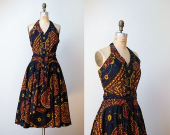 1950s Sequin Halter Dress / 50s Batik Cotton Sundress