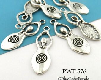Spiral Goddess Charm Pendant Pewter 39mm (PWT 576) 6 pcs BlueEchoBeads