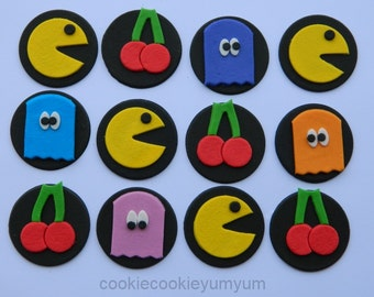 12 edible PACMAN GAME disc cake decorations cupcake wedding topper decoration anniversary birthday engagement playstation xbox retro