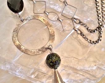 Gray Mist ~ Pendant & Tassel Necklace