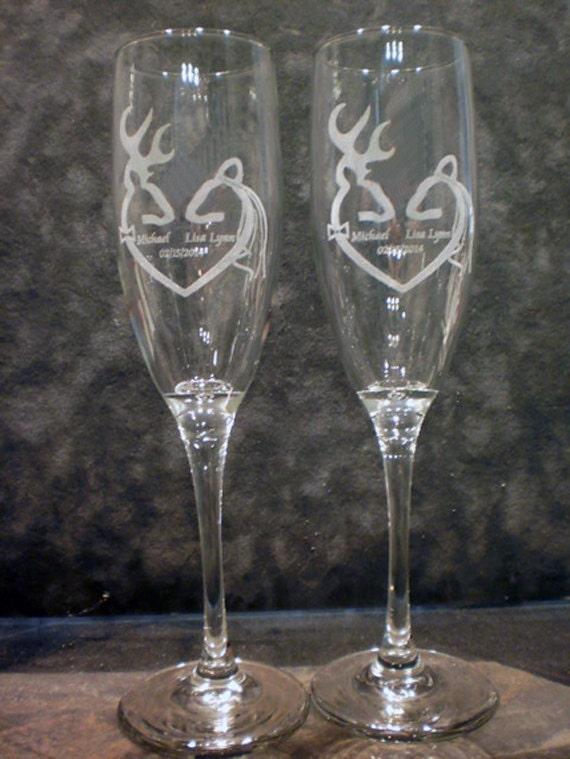 Buck And Doe Deer Wedding Toasting Flute Champagne