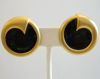 Matte Gold Tone Round Black Enamel Clip Earrings