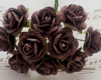 100 Mulberry Paper Roses, Chocolate Brown Rose, Card Making, Rose Embellishments, Handmade Paper Flowers, Brown Paper Rose, 10/15mm