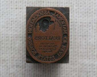 Vintage National Association Real Estate Boards Printers Block Letterpress Metal on Wood