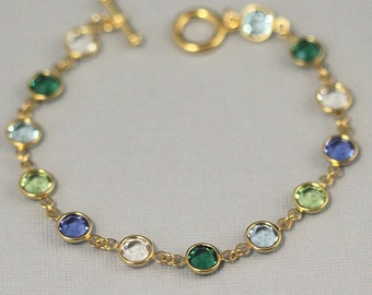 Gold Crystal Birthstone Bracelet, Mother's Bracelet, Birthstone Jewelry, Grandmother's Bracelet,