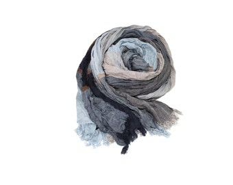 Men's Scarf, Blue Gray Wrinkled Fringed Scarf