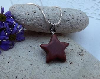 Goldstone Star Shaped Gemstone Pendant. Brown Glass Pendant (Style 36)