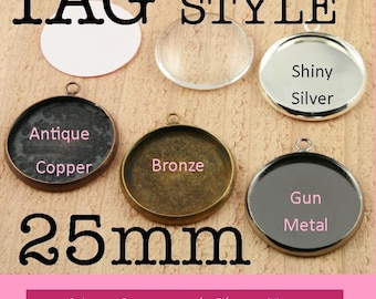 10 Recessed TAG STYLE Pendant Tray Charms - 25mm -   Earring Drops - Blank Bezel - great for charms, pendants, earrings- Ships from USA