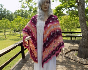 Hand Crocheted Virus SHAWL Coral Peach Pink Red