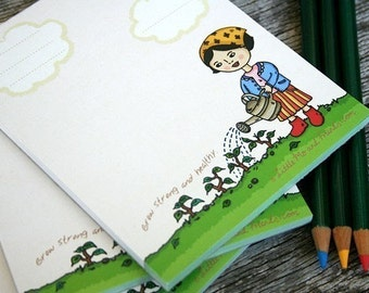 Grow Strong and Healthy Memo Pad - 40 sheets full colour, garden theme, school, office desk, recycled