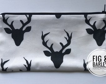 Buck Forest Range Zipper Pouch, 8 Colours to choose from! Pencil Pouch, Pencil Case, Back To School, Kids, Make up bag, Women, Cosmetics Bag