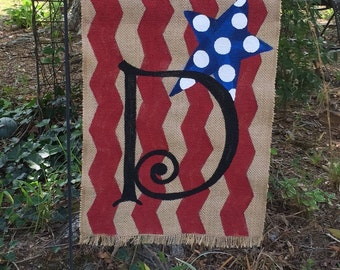 Handpainted Garden Flag....Patriotic Fourth of July