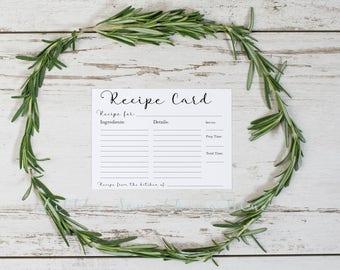 Recipe Card // Bridal Shower Recipe Card // Printable // Instant Download // Digital Download