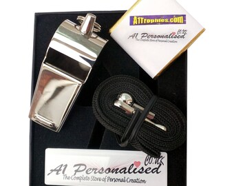 Personalised Engraved Stainless Steel Referees Coaches Whistle & Gift Box