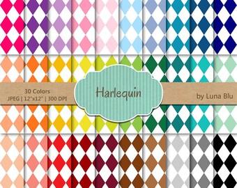 "Harlequin Digital Paper pack: ""Rainbow Harlequin"" digital paper bundle, Harlequin scrapbook paper, set of 30, commercial use, mega pack"