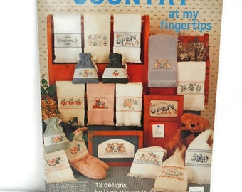 Counted Cross Stitch Pattern Booklet Fingertip Towels Country Designs Vintage 1990 Graphs