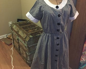1980s does 1950s black and white checked dress