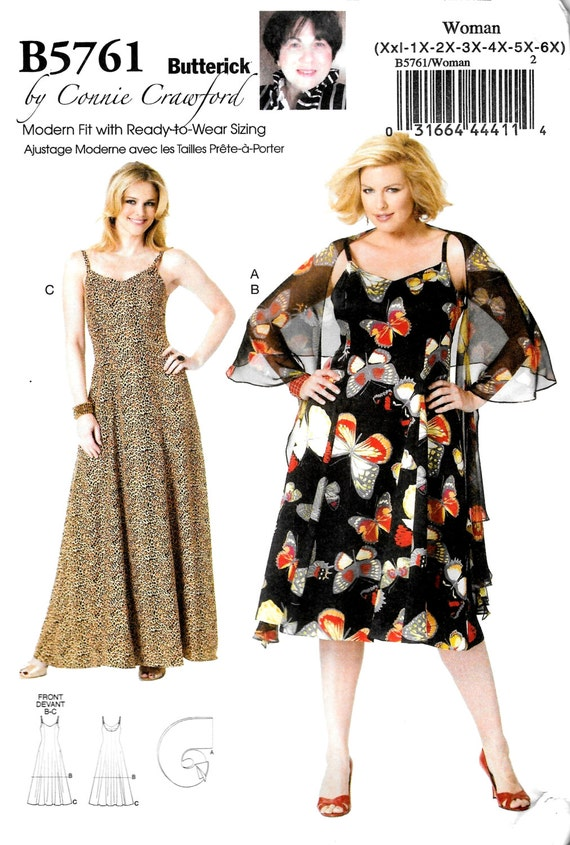 Womens Plus Size Chiffon Dress and Wrap Easy Butterick Sewing