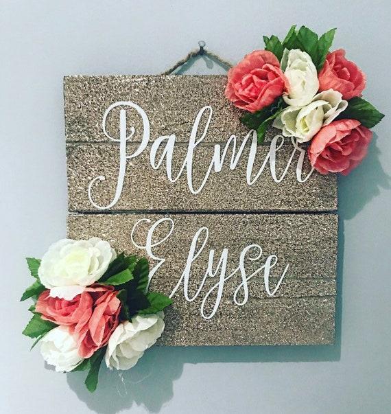 Glitter Wooden Sign | Floral Glitter Sign | Nursery Floral Sign