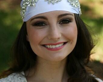Grecian Headpiece, Bridal Headpiece, Cubic Zirconia Headband, Leaf Headpiece, Tiara, Bridal Headpiece - CHLOE