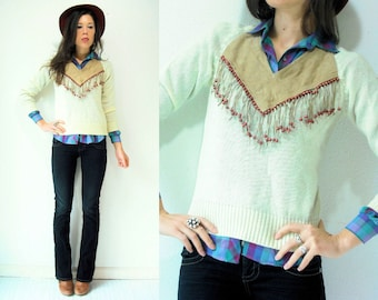 70's Vintage Cream Knit Leather Sweater / Taupe Suede Leather V Neck / Wood Beaded Leather Fringe / Small