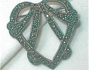 Sterling Marcasite Heart Brooch -  Heart Pin Sweetheart Valentine Jewelry - Vintage 1940s