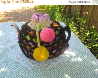 ON SALE Vintage Tea Cozy - Orange, Green, Yellow, Brown Crocheted - Vintage Style for your teapot.