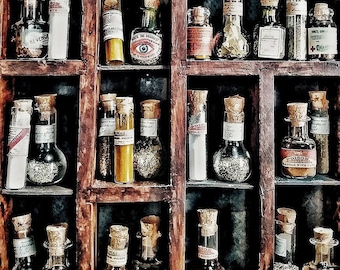 Miniature Apothecary Bottles with Mysterious Contents
