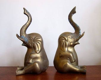 Brass Elephant Bookends | Large Heavy Brass Bookend Set | Modern Home Decor  Mid Century Retro