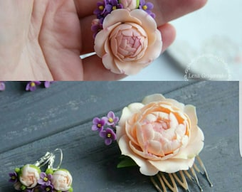 peony comb, cold porcelain, gift for her, peony set, bride peony, bride earrings, lilac comb, peony earrings, lilac earrings