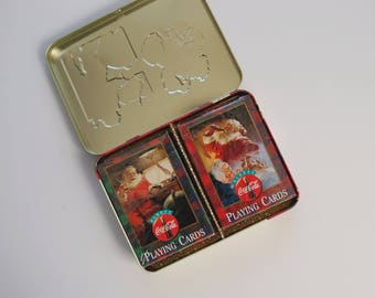 Vintage Coca-Cola Playing Cards, Santa Playing Cards, Coke Christmas Set of 2 Decks Of Cards in Collector's Tin