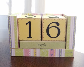 Perpetual Wooden Block Calendar - Pastel Stripes - Pink Yellow Moss Purple and More - Gifts for Her - Teacher Gifts