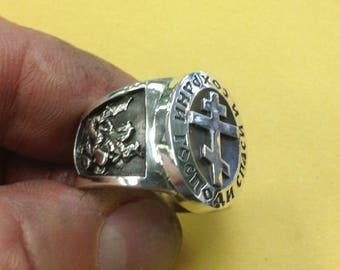 Russian Orthodox Save & Protect Saint George Jesus the Savior Church Silver Ring