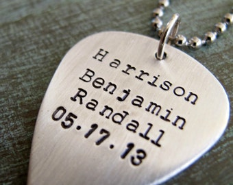 Handstamped Guitar Pick Necklace, Personalized, Gift for Dad, Musician, Where words fail music speaks