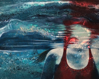 Large giclee art print of an underwater swimmer