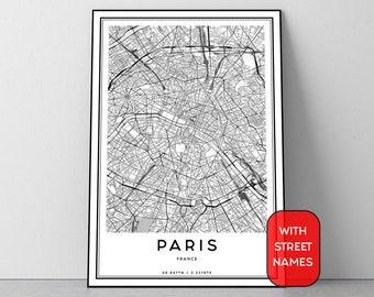 Paris Street Map Etsy - Modern map of paris