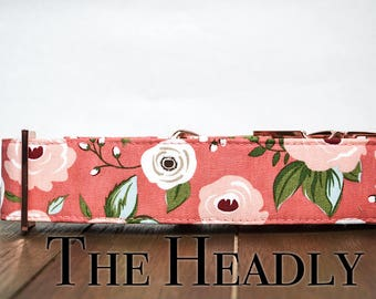Dog Collar- Coral floral dog collar with rose gold