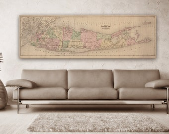 Blueprint map etsy print of vintage long island map on photo paper matte paper canvas free shipping decor giclee malvernweather Gallery