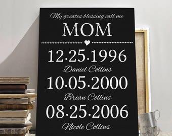 MOTHER BIRTHDAY CANVAS Print, Mother birthday gift, Gift for mother, Mothers Day gift, Mothers Day canvas, Mothers Day print, Kids Birthday