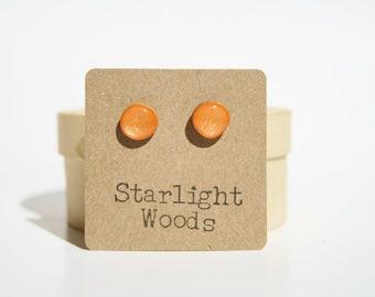 Tangerine Orange Stud Earrings. Orange Post Earrings. Orange Earrings. Orange Studs. Wood Earrings.  Eco friendly unique gift for her