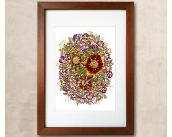 Floral Art Framed  Dried Flowers Art Floral Art Pressed Flower Art Framed Dried Flowers Framed Herbarium Original Artwork Flowers Framed Art