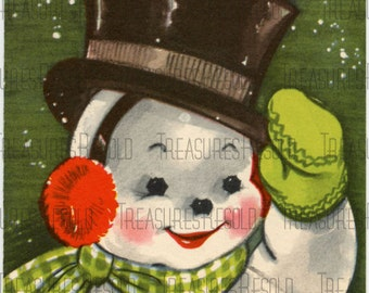 Retro Snowman Christmas Card #41 Digital Download