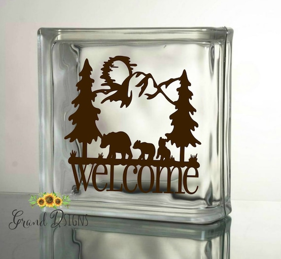 Welcome bears silhouette vinyl decal glass block diy